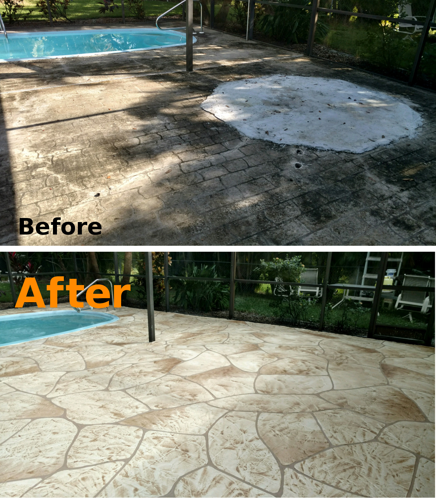 Before And After Concrete Resurfacing Pool Deck Cape Coral